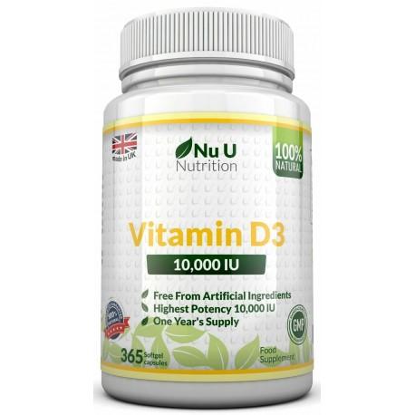 Vitamina D-3 D3 10000 IU 360 softgels Perlas Defensas Nu U Nutrition